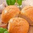 Stock Photo: Homemade buns with garlic and green basil