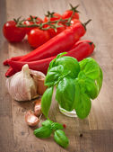 Red chili peppers, tomatoes, garlic and basil on a wooden background — Stock fotografie