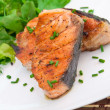 Grilled salmon and salad — Stock Photo #26768275