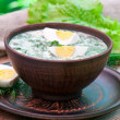 Cold vegetable kefir soup with eggs and greens — Stock Photo