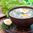 Cold vegetable kefir soup with eggs and greens — Photo
