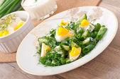 Salad of boiled eggs, green onions and cucumber with yogurt dressing — Stock Photo