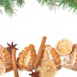 Christmas decoration with fir-tree on white background — Stock Photo