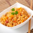 Uzbek national dish plov in a bowl — Stock Photo #30408499