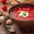 Stock Photo: Ukrainiand russinational red soup borsch closeup