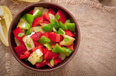 Salad of sweet colorful peppers with olive oil — Stock Photo
