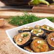 Platter of grilled eggplant with garlic and dill — Stock Photo