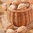 Basket full of walnuts — Stock Photo