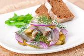 Herring salad with pickled cucumbers and onions — Stock Photo