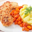 Stock Photo: Fried cutlets, stewed pumpkin and mashed potatoes