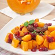 Baked pumpkin with meat and vegetables. — Stock Photo