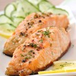 Fish dish - grilled salmon with vegetables — Stock Photo #32609747