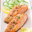 Fish dish - grilled salmon with vegetables — Stock Photo #32609757
