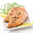Fish dish - grilled salmon with vegetables — Stock Photo #32609767