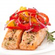 Baked salmon with a salad of sweet peppers and oranges — Stock Photo