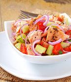 Salad Sheppard c Norwegian salmon — Stock Photo