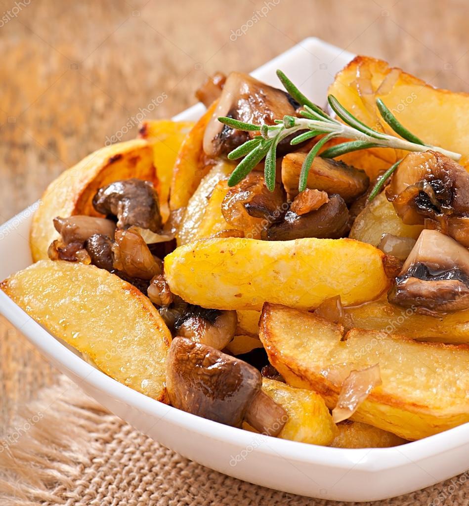Жареная картошка с сушеными грибами рецепт