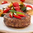 Hamburger beef steak with grilled vegetable — Stock Photo