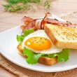 Breakfast with bread — Stock Photo