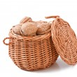 Basket with walnuts isolated on a white backgroun — Stock Photo