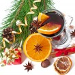 Christmas mulled wine in glass cup isolated on white background — Stock Photo #34266937