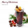 Christmas mulled wine in glass cup isolated on white background — Stock Photo #34898571