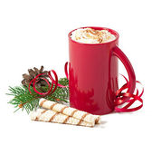 Christmas card with red coffee cup topped with whipped cream on white background — Stock Photo
