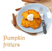 Pumpkin Fritters with cinnamon and sugar — Stock Photo