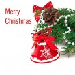Christmas card with a red ball and fir branches — Foto de Stock