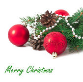 Christmas card with a red ball and fir branches — Stockfoto