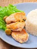Rizs, sült csirke — Stockfoto