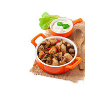 Sauteed chicken with mushrooms — Stock Photo