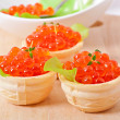 Tartlets with red caviar — Stock Photo #38115241