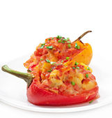 Peppers stuffed with potatoes and sausage — Stock Photo