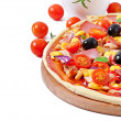 Pizza with vegetables, chicken, ham and olives isolated on white — Stock Photo #39947257