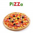 Pizza with vegetables, chicken, ham and olives isolated on white — Stock Photo #39947261