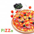 Pizza with vegetables, chicken, ham and olives isolated on white — Stock Photo #39947263
