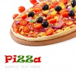 Pizza with vegetables, chicken, ham and olives isolated on white — Stock Photo #40426217