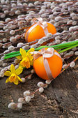 Colorful easter eggs on old wooden background — Stock Photo
