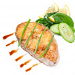 Fish dish - fried fish fillet with vegetables on white background — Stock Photo #41152995