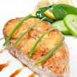 Fish dish - fried fish fillet with vegetables on white background — Stock Photo #41153025