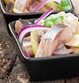 Herring salad with onion and green apple — Stock Photo