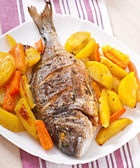 Dorada baked with potatoes — Stock Photo