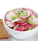Radish salad in white bowl — Stockfoto