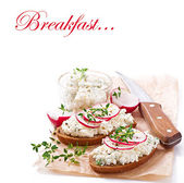 Sandwich with cottage cheese, radish, black pepper and thyme — Stock Photo