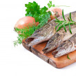 Pike raw fish preparation to baking in the kitchen — Stock Photo #44475831