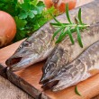Pike raw fish preparation to baking in the kitchen — Stock Photo #44475839