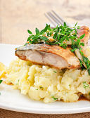 Fried fish with mashed potatoes — Stock Photo