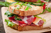 Sandwich with ham, cheese and fresh vegetables — 图库照片