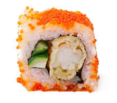 Sushi roll with shrimp tempura isolated on white background — Stock Photo